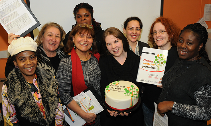 Attendees at the launch of the Enterprising Libraries New Biz programme with local business owner Katy Davies (centre)
